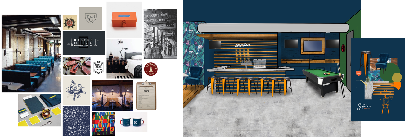 Eugene's Canteen moodboard and mockups